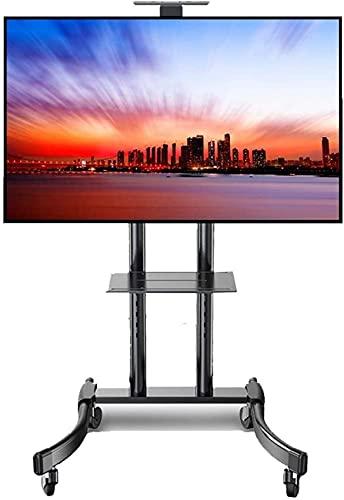 N/Z Inicio Equipos Soporte de Pared para Rack de TV Soporte de TV con Ruedas con 2 estantes Carrito de TV Universal Giratorio de Alta Resistencia para 32/42/43/49/50/55/65 Pulgadas Plasma/LCD/LED T