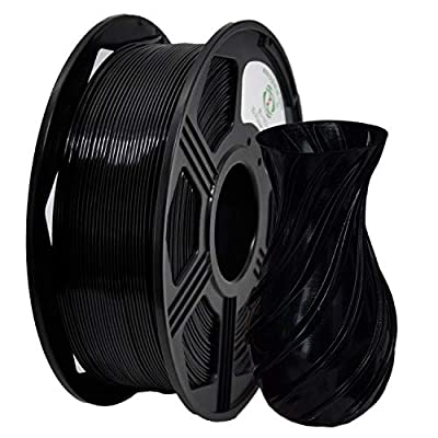 YOYI 3D Printer Filament,PETG Filament 1.75mm 2.2lbs(1kg) Spool, Dimensional Accuracy +/- 0.03 mm,100% Europe Raw Material (BLACK)