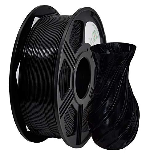 YOYI Filament PETG 1.75mm,PETG Filament 1.75mm, 3D Drucker Filament 1kg Spool (2.2lbs),Maßgenauigkeit +/- 0.02mm (A-Schwarz)