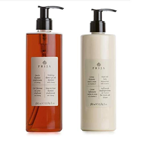 Prija Hair & Body + Bodylotion 2x 380ml mit Ginseng Haarshampoo Duschgel Körperlotion