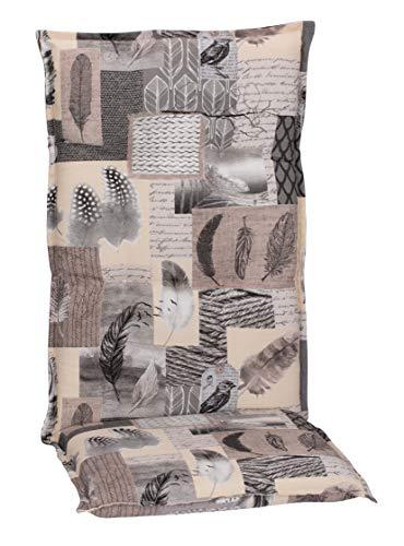 Beo Gartenstuhlauflagen Hochlehner UV-beständig Turin   Made in EU Premium-Qualität   Hochlehner Auflagen waschbar   Atmungsaktive Stuhlauflagen Hochlehner mit Feder-Muster in Grau