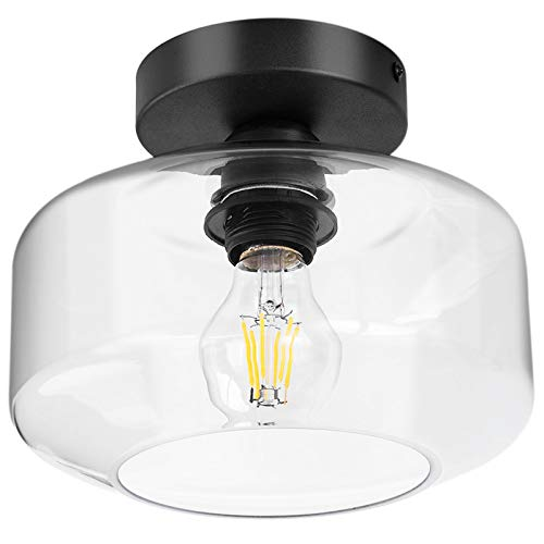 TeHenoo Industrial Ceiling Light Fixture with Clear Glass Shade, Semi Flush Mount Ceiling Light for Hallway, Entryway, Cafe, Bar, Corridor, Porch,Passway