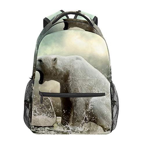 School Backpack Polar Bear On The Cracked Ice Roaring Casual Travel Laptop Daypack Canvas Book Bags for Woman Girls Boys Student Adult Men