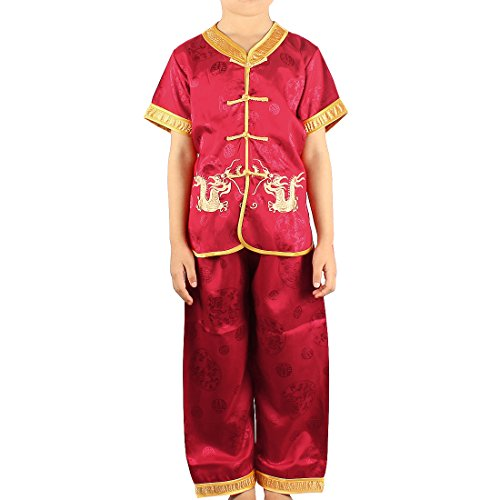 Andux Land Dragon Kungfu Outfit Embroidery Dragon Suit Chinese Tang Clothes GFTZ-01 (red, 80cm)