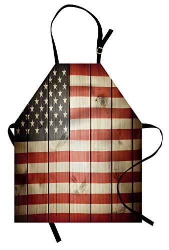 ABAKUHAUS Amerikanische Flagge Kochschürze, USA-Flagge über vertikaler gestreifter hölzerner Brett-Bürger-Solidaritäts-Kitsch-Grafik, Maschienenwaschbar Wasserdicht kein Verblassen, Blau Rot