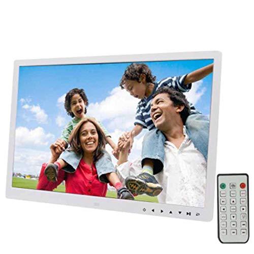 LYA Digitaler Bilderrahmen, LED-Anzeige Multimedia Digitaler Bilderrahmen Mit 7-Key Touch Control/Halter/Fernbedienung,Weiß
