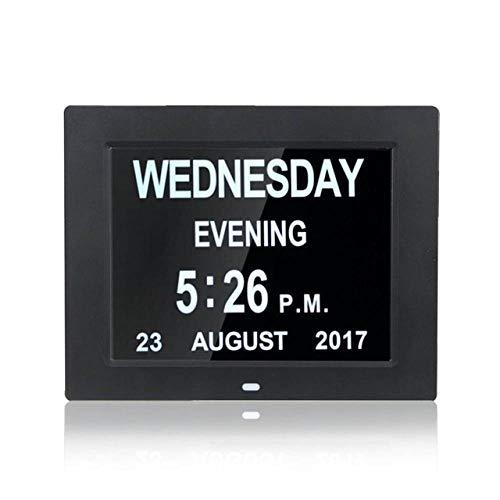 FPRW Wekker 8 inch Digitale LED-wekker met kalender, grote week/maand/jaar, voor de decoratie van het huis voor Egypte, zwart