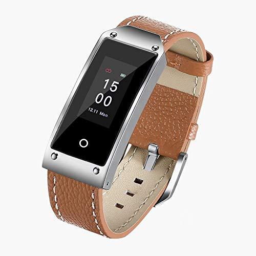 chebao, Reloj inteligente, rastreador de fitness con monitor de frecuencia cardíaca, pulsera inteligente Aeitto de 0.96 pulgadas, impermeable, monitor de ritmo cardíaco (marrón)-235368.04