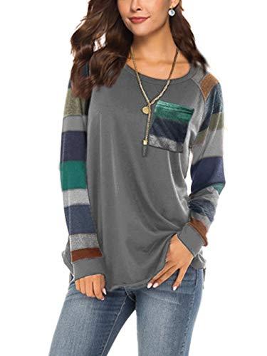 iChunhua Damen-Langarm-T-Shirt, Farbblockierung, Raglan-Ärmel, Tunika, Tops Gr. 46, grau