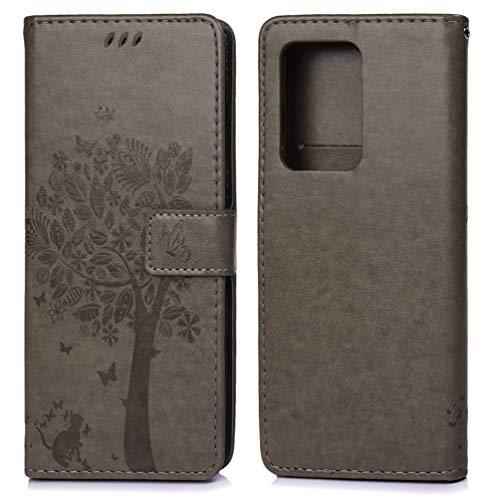 Cáscara para Samsung Galaxy S11 Plus, Funda Ultra Delgada Piel Libro Suave Flip Cover PU Sintético Cuero Protector Caso Cierre Magnétic, Arbol Gofrado 360 Grados Billetera, Gris