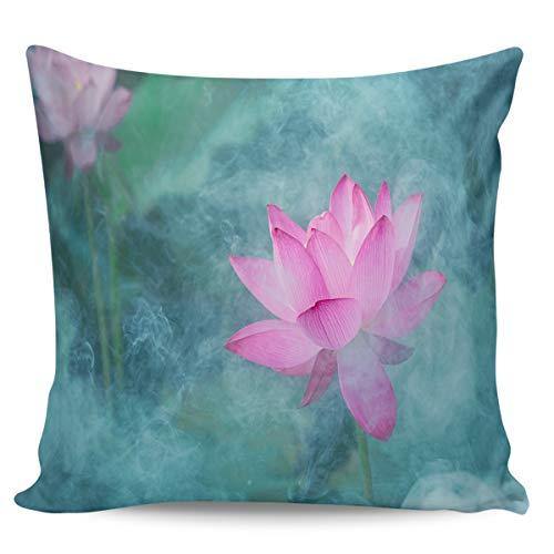 Fundas de almohada de 45,72 x 45,72 cm, diseño de loto rosa misterioso retro humo, decoración del hogar