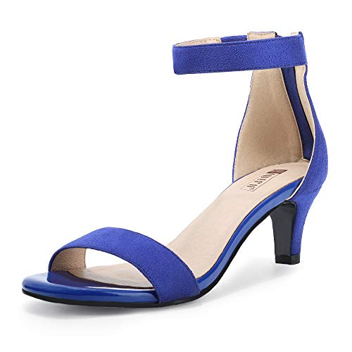 IDIFU Women's Low Kitten Heels Sandals Ankle Strap Open Toe Wedding Pump Shoes with Zipper(7.5, Royal Blue Suede)
