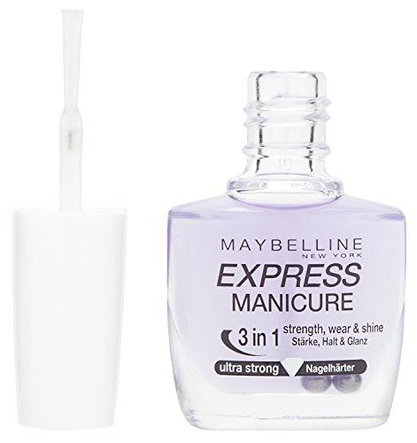 Maybelline Express Manicure Nagelhärter, stärkt brüchige Nägel, schützt vor Verfärbungen, verbessert den Halt des Nagellacks, mit zartem Glanz, 10 ml