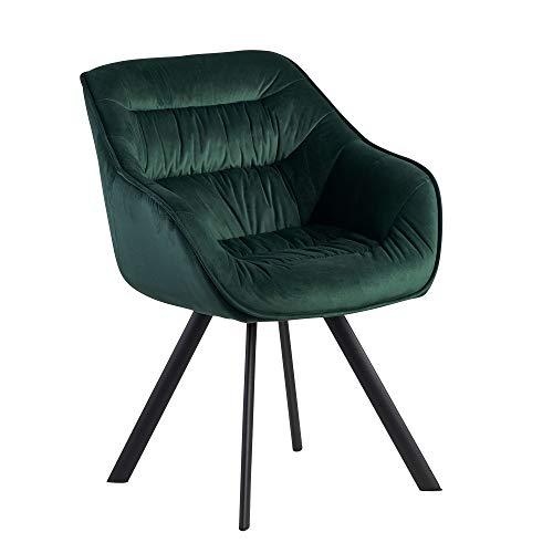 FineBuy Esszimmerstuhl Samt Grün Gepolstert | Küchenstuhl mit Schwarzen Beinen | Moderner Schalenstuhl mit Armlehnen | Design Polsterstuhl Stoffbezug