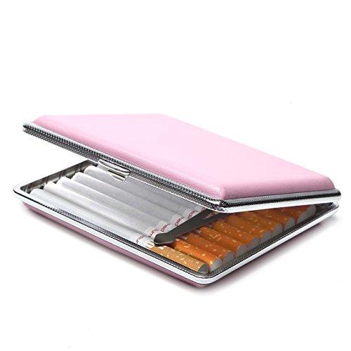【YuHaru】 シガレットケース キングサイズ タバコ20本収納 レザー タバコケース PU革 ピンク