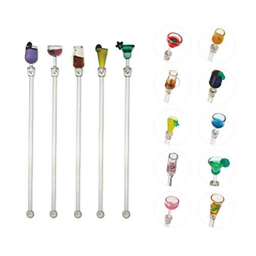 Hotaden 10 PC-Cocktail Swizzle Stirrer Sticks, Set von 10 bunten Acryl Cocktail Fruchtsaftgetränk Mixer Kochlöffel
