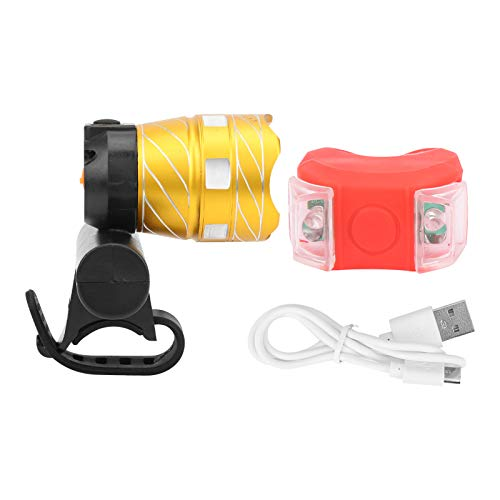DSJSP Luces De Bicicleta De Alta Intensidad, Bicicleta USB Carga Frontal Frontlight Bike Advertencia Light STET STET Torch Accesorio DE Ciclo
