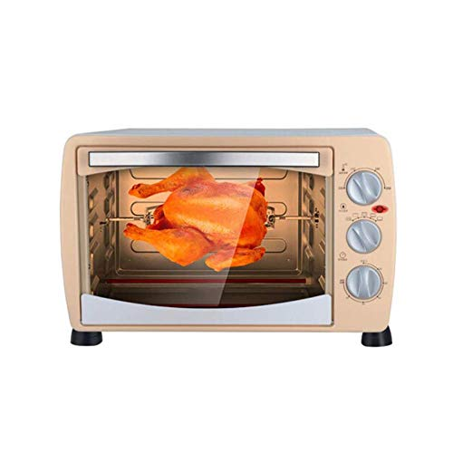 SMGLJJ Edelstahl Mini Ofen 18L Convection Countertop Toaster Broiler mit Wannen-Behälter 360 ° Rotating Fork und geformt Cube Liner