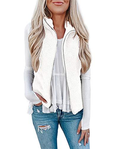 Womens Sherpa Fleece Vest Fuzzy Warm Casual Lightweight Sleeveless Zip Up Coat with Pockets Fleece Jacket for Gift White S