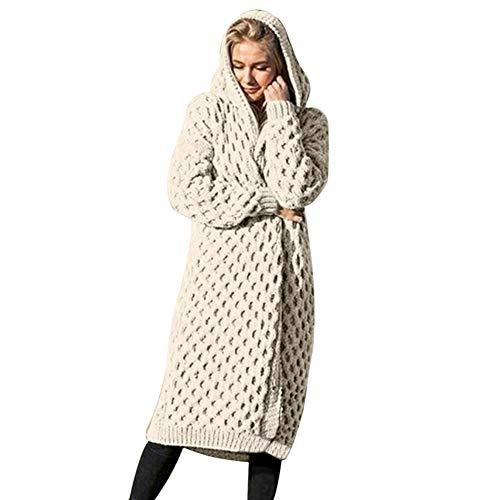ORANDESIGNE Damen Strickjacke Pullover Cardigan Langarm Oversize Frühling/Winter/Herbst Cardigan Lang Mantel Weiß DE 38