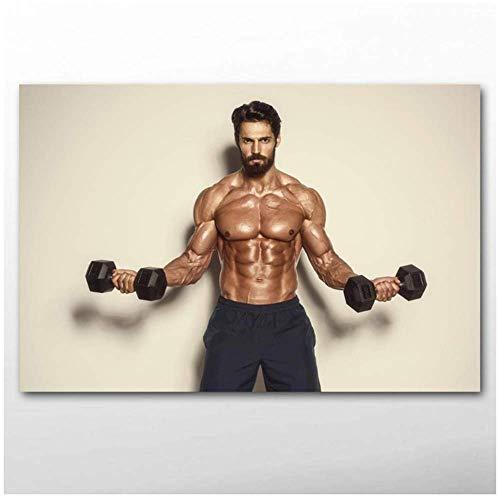 XingChen Kunstplakat Sportmuskel Hantel Fitness Mann Wandkunst Poster und Drucke Leinwandbilder für Wohnzimmer Dekor 50x70cm ohne Rahmen