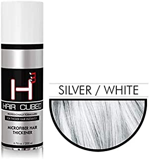 Hair Cubed® - Silver, Hair Building Fiber Spray -(Water Proof) Lasts 2 - 5 Months