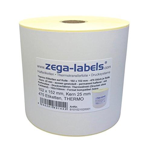 Thermo Etiketten auf Rolle - 102 x 152 mm - 475 Stück je Rolle - Kern: 25 mm - aussen gewickelt - permanent haftend - mit Perforation - Druckverfahren: Thermodirekt (Drucken ohne Farbband)