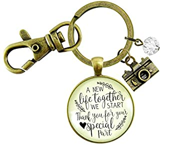 Gutsy Goodness Wedding Photographer Gift Keychain A New Life We Start Rustic Camera Thank You Card