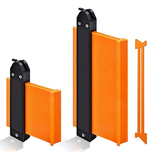 Contour Gauge Profile Tool, GOXAWEE Widen Irregular Shape Duplicator 5''& 10''-Tightness Adjustable- Master Outline Measuring Plastic Ruler for Corners, Wood Templates, Tiles and Laminate (Orange)