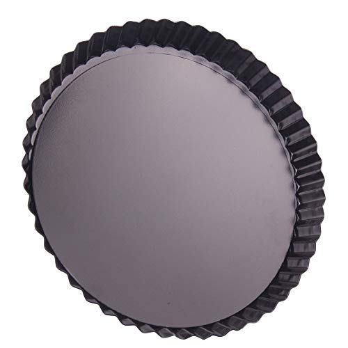 HMQCI 2Pack Carbon Steel Non-stick Pizza Pan Removable Bottom Round Tart Baking Tray (Color : Black, Size : 8 Inch)
