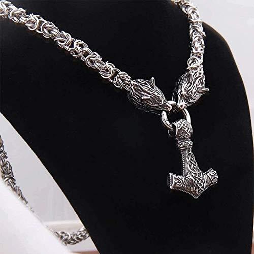 Collar de cabeza de lobo de acero inoxidable pesado con colgante de martillo nórdico Thor, amuleto nórdico de cadena Viking King (tamaño: 70 cm)