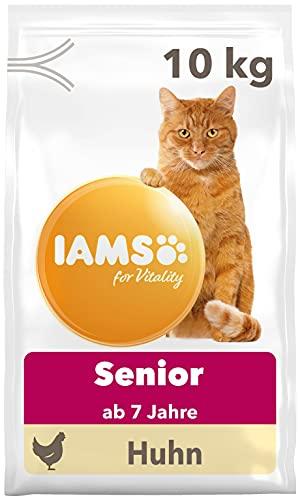 IAMS for Vitality Senior Katzenfutter trocken - Trockenfutter für ältere Katzen ab 7 Jahren mit frischem Huhn, 10 kg
