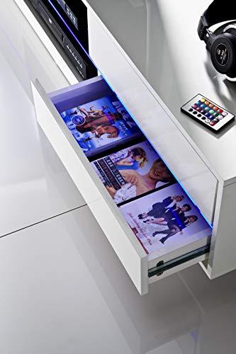 Robas Lund 59075W14 Blues Media TV Lowboard, Klarglasboden, RGB LED Wechselbeleuchtung mit Fernbedienung, 4 Schubkästen, 2 Fächer, 160 x 40 x 36 cm, MDF Hochglanz weiß lackiert - 4