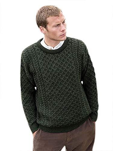 100% Soft Irish Merino Wool Crew Neck Sweater by West End Knitwear,Green,Large