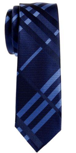 Retreez Cravate Fine Slim exquise micro-fibreuse tissée à damiers pour homme - Bleu marin