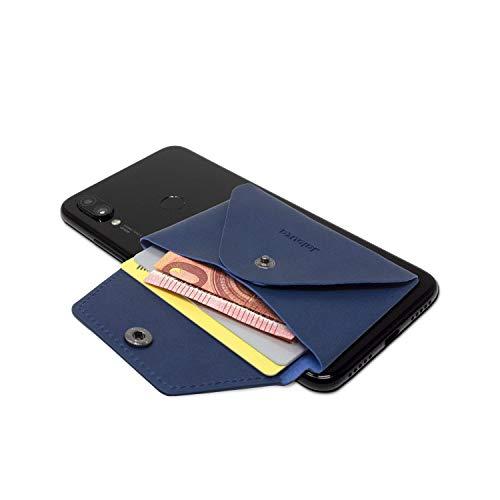 Jalouza Kartenhalter in Blau mit RFID Schutz zum aufkleben auf Hülle - Für iPhone, Samsung, Huawei