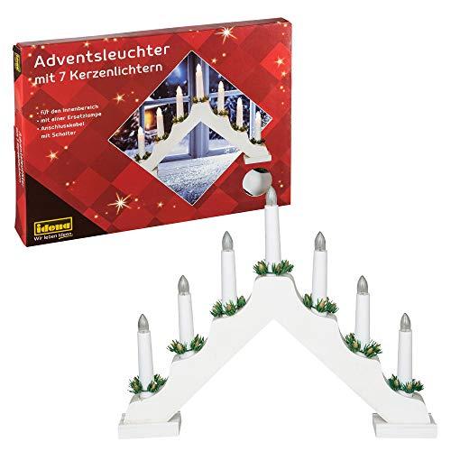 Idena 8582067 - Adventsleuchter aus weiß lackiertem Holz mit 7 warmweißen Kerzenlichtern, mit Ersatzlampe,...