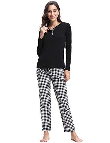 Abollria Pijamas Mujer Algodon Ropa de Domir Elegante Manga Pantalon Largos