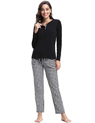Abollria Pijamas Mujer Algodon Ropa de Domir Elegante Manga Pantalon Largos (L, Negro_2)