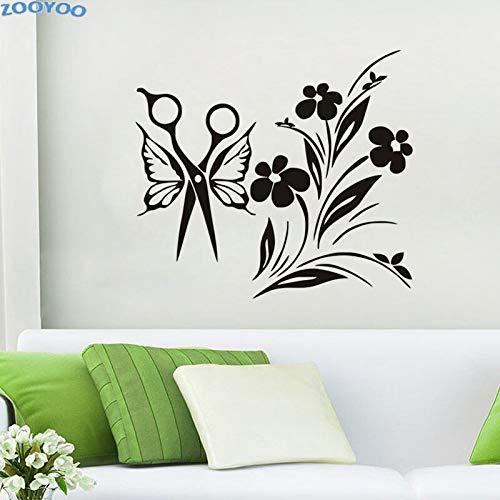 Jsnzff DIY salón de Belleza Tatuajes de Pared Mariposa Mariposa Tijeras Pegatinas de Pared decoración del hogar extraíble Pintura Mural decoración 88x97 cm
