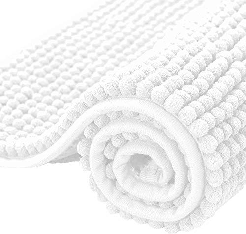subrtex Alfombrilla de Baño Antideslizante Alfombra de Felpa de Chenille Absorbente Alfombras de Cocina Alfombra de Ducha (50×80cm,Blanco)