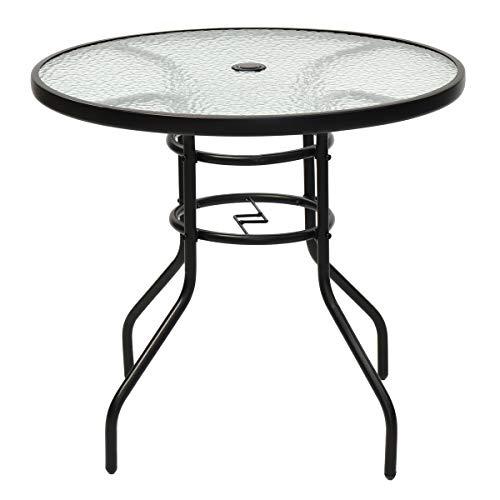 GIANTEX Couchtisch rund Metall Glastisch Bistrotisch mit Glasplatte Terrassentisch Kaffeetisch Gartentisch Balkontisch Wohnzimmertisch Sofatisch Tischchen mit Schirmloch für Balkon Terrasse Garten