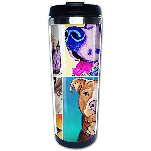 JULOE 400ML Taza de café Vaso Taza Forro de Acero Inoxidable, Animales domésticos Amor Imprimir Taza de Viaje Botellas de Agua Termo portátil Frasco de vacío