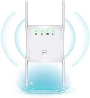 WiFi Range Extender 1200Mbps Wireless Signal Repeater Booster, Dual Band 2.4G and 5G Expander, 4 Antennas 360° Full Covera...