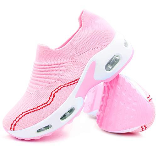L LOUBIT Women Walking Shoes Comfort Slip On Platform Socks Sneakers Breathable Wedge Nurse Loafers Pink 36