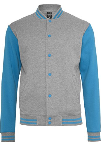 Urban Classics Hommes 2-tone College Sweatjacket (2) TB207, Farbe:grey/turquoise;Größe:M