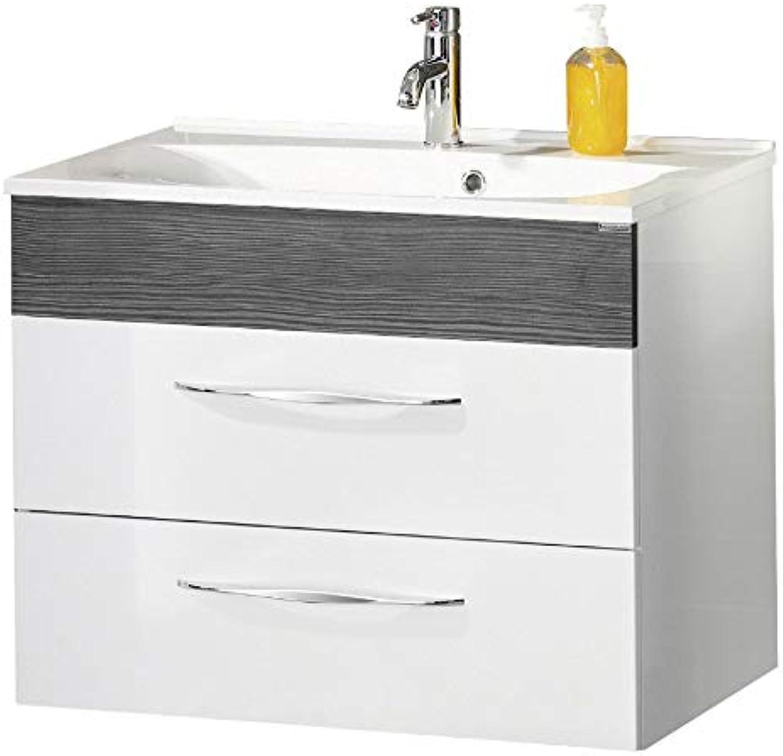 FACKELMANN Waschtischunterschrank SCENO Badschrank mit Soft-Close Mae (B x H x T)  ca. 80 x 65,5 x 50 cm Schrank fürs Bad mit 2 Schubladen Korpus  Wei Front  Wei Traverse  Schwarz