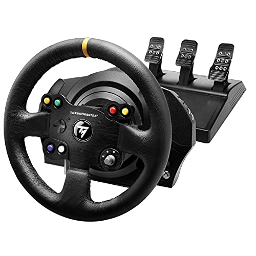 Thrustmaster TX Racing Wheel Leather Edition, Volante e Pedali, Xbox Serie X|S, Force Feedback, Motore Brushless, Doppia Cinghia, Tecnologia Magnetica, Volante Intercambiabile