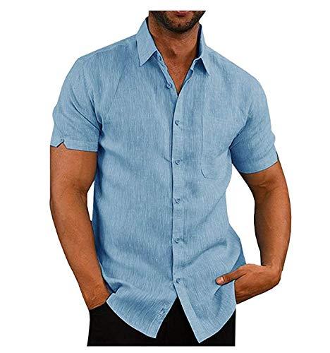 Siyova Camisa de hombre de algodón de lino con botones Slim de manga corta, color liso, cómoda, camiseta de...