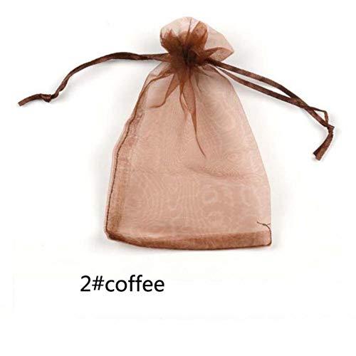 Organza zakje voor gastgeschenken, gastgeschenken, gastgeschenken, gastgeschenken, gastgeschenken, feestzakjes voor kinderverjaardagen, knutselen, solide Wh, 2 koffie